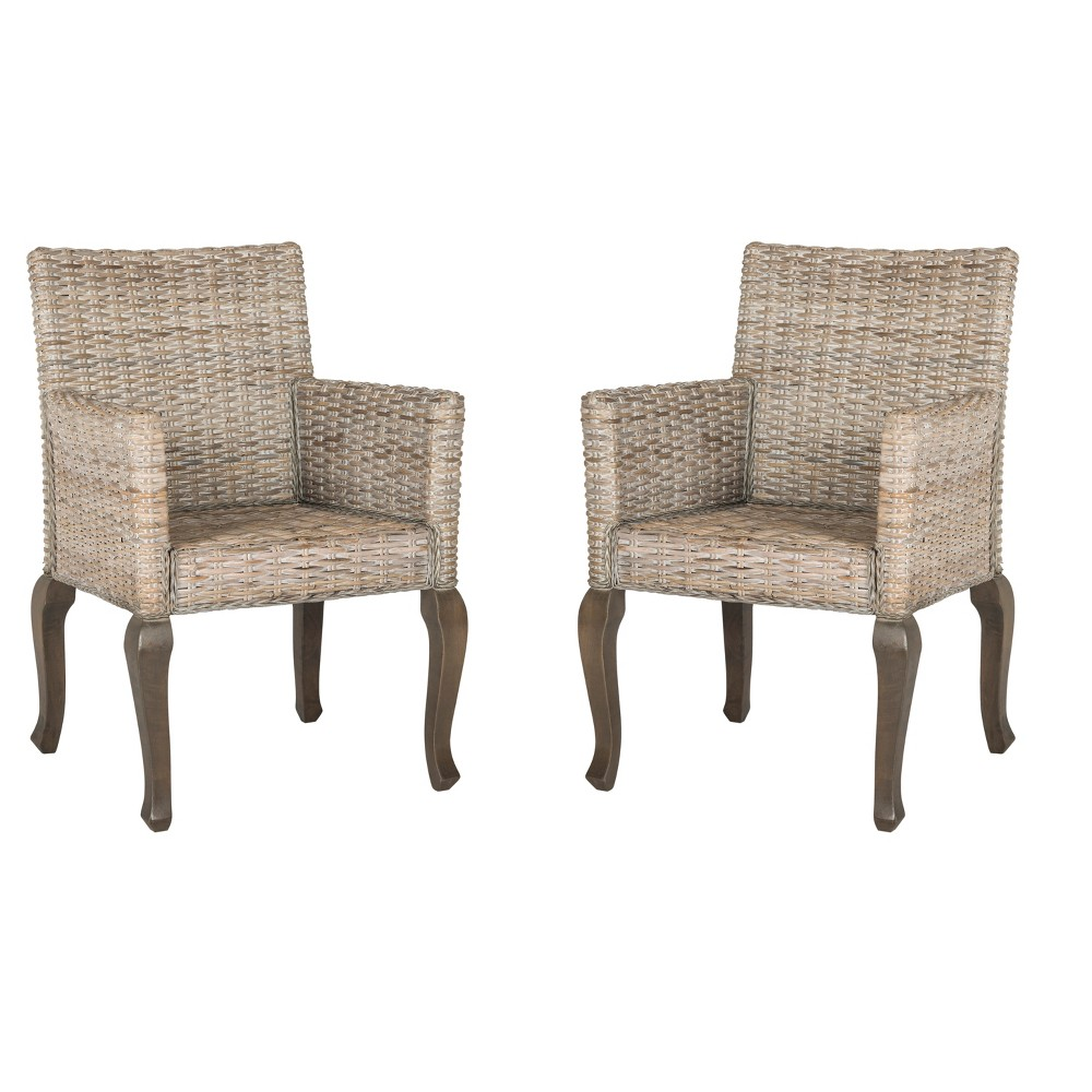 Armando Wicker Dining Chair - White Washed (Set of 2) - Safavieh