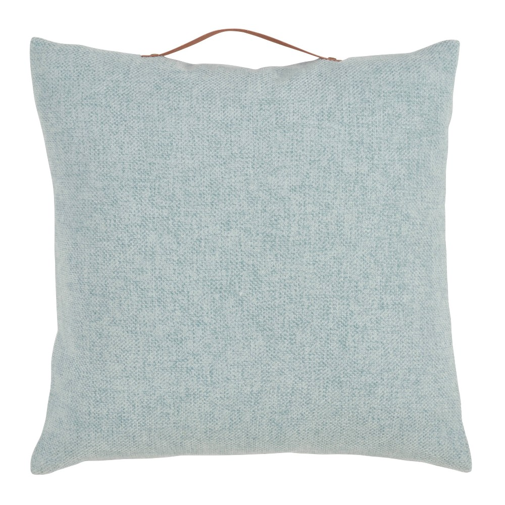 18 34 X18 34 Chenille Pillow With Handle Poly Filled Square Throw Pillow Aqua Saro Lifestyle