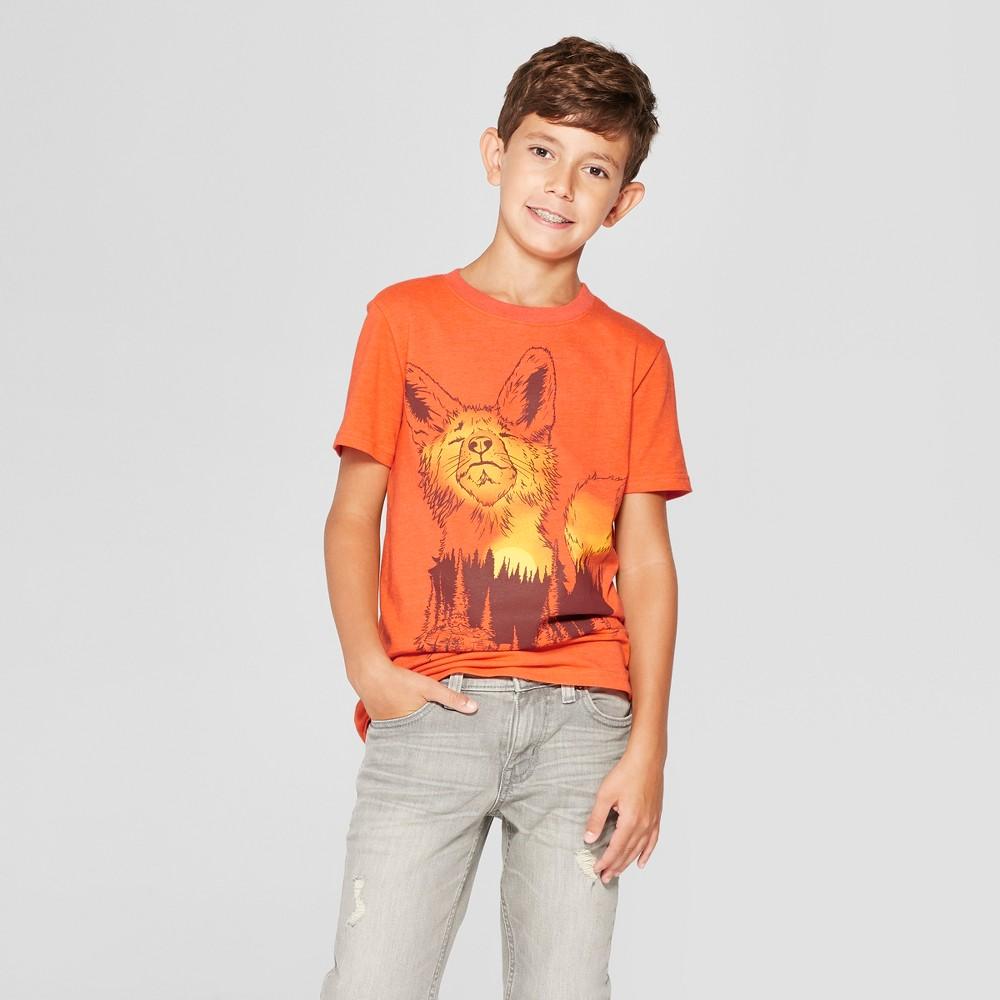 Boys' Fox Short Sleeve Graphic T-Shirt – Cat & Jack Orange XS