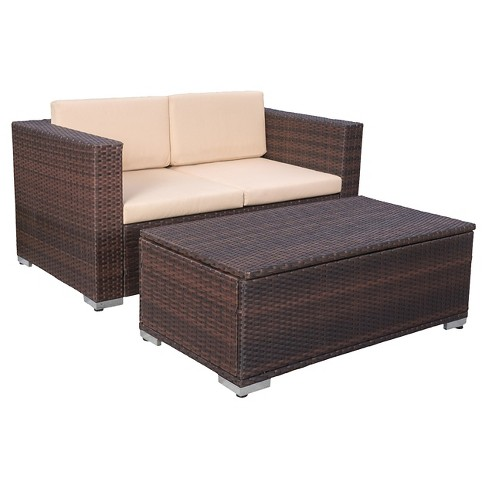 Murano 2pc Aluminum Patio Chat Set with Cushions - Brown - Christopher Knight Home - image 1 of 4