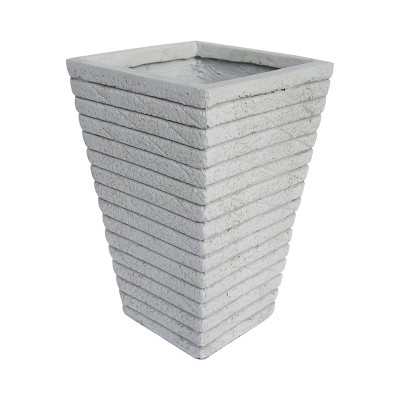 "16"" Jude Lightweight Concrete Tapered Square Patio Urn Planter White - Christopher Knight Home"