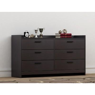 Emerson 6 Drawer Dresser Black/Brown - Loft 607