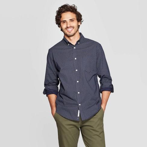 Men's Standard Fit Floral Print Long Sleeve Northrop Poplin Button-Down Shirt - Goodfellow & Co™ Blue - image 1 of 3