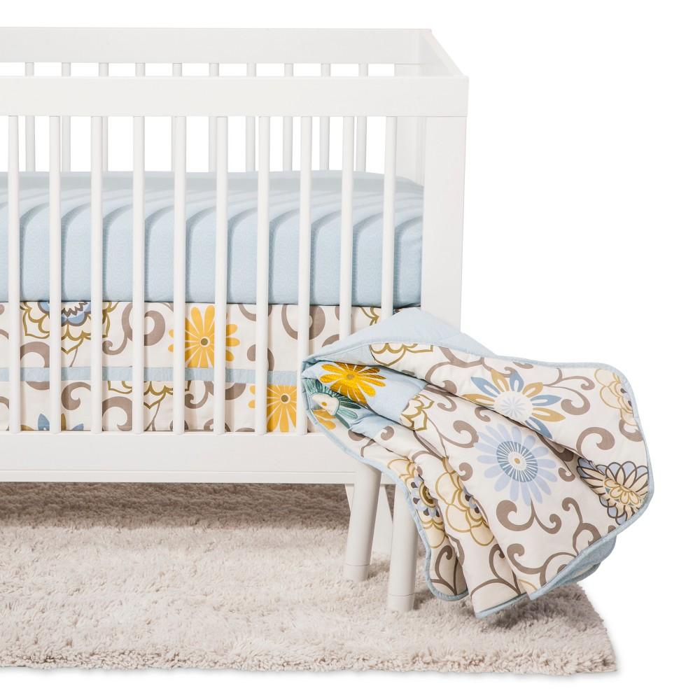 Image of Waverly Baby by Trend Lab Crib Bedding Set - Pom Pom - Light Blue