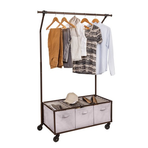 Bronze Portable Garment Rack With Storage Bins : Target