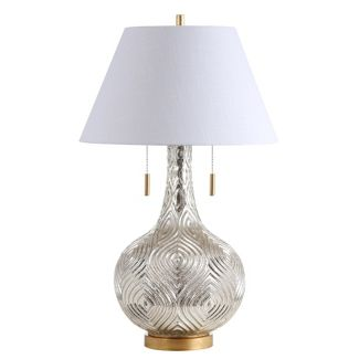 30.75u0022 Highland Gourd Glass LED Table Lamp Silver (Includes Energy Efficient Light Bulb) - JONATHAN Y