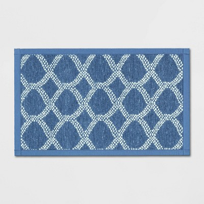 "34""x20"" Flat Weave Kitchen Rug Blue - Threshold™"