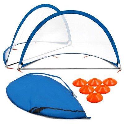 Training Equipment Pair of 6 Foot Pop Up Soccer Goals with Disc Cones, Blue