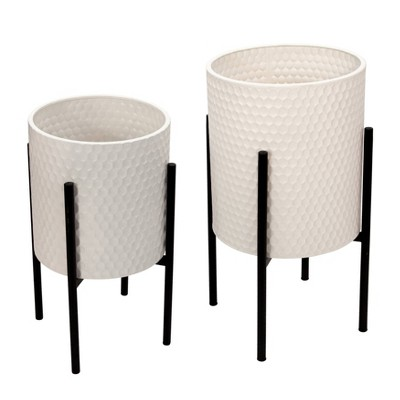 Set of 2 Honeycomb Planter on Metal Stand - Sagebrook Home