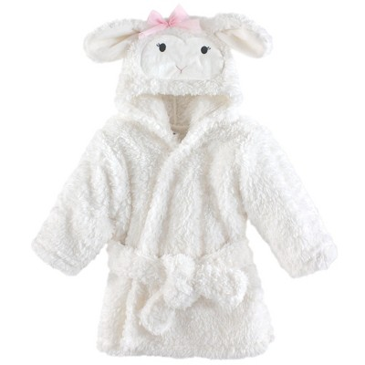 Hudson Baby Infant Girl Plush Animal Face Bathrobe, Girl Lamb, 0-9 Months