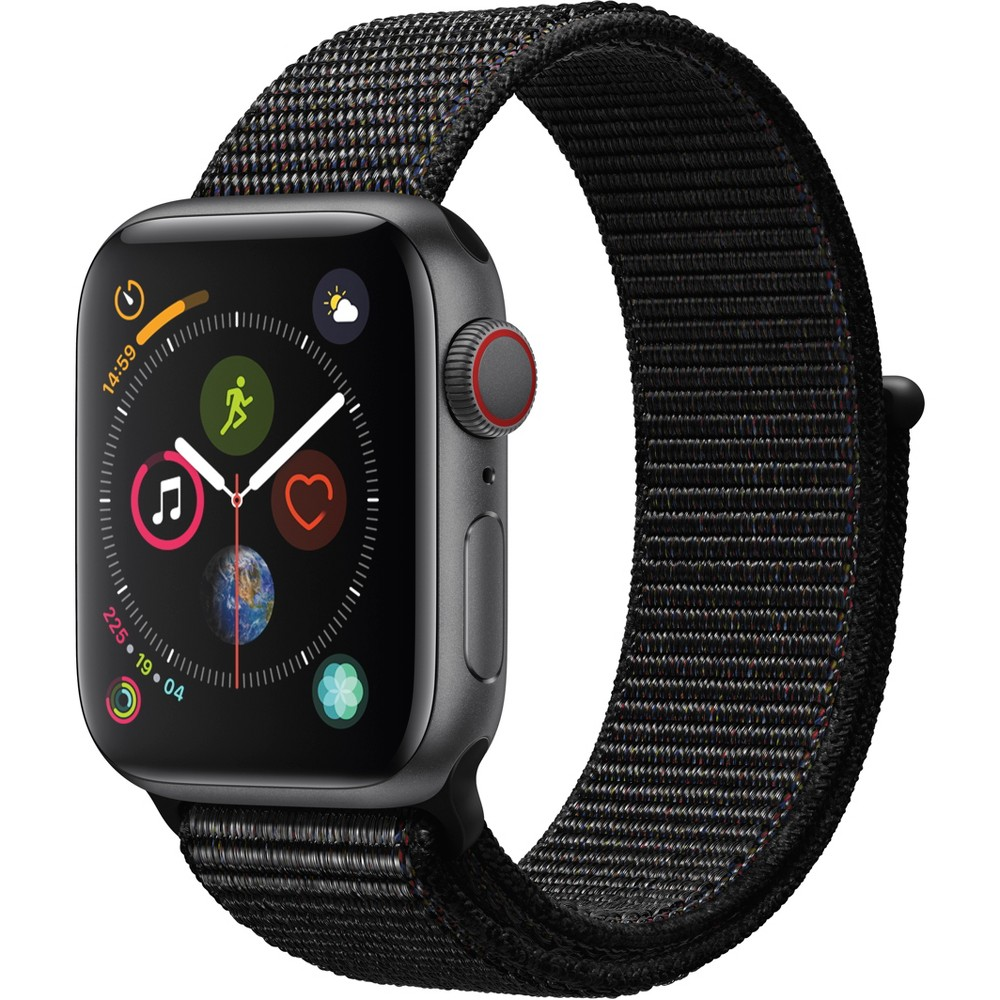 Apple Watch Series 4 Gps & Cellular 40mm Space Gray Aluminum Case with Sport Loop - Black, Black Sport Loop Fundamentally redesigned and reengineered. The largest Apple Watch display yet. Built-in electrical heart sensor. New Digital Crown with haptic feedback. Low and high heart rate notifications. Fall detection and Emergency Sos. New Breathe watch faces. Automatic workout detection. New yoga and hiking workouts. Advanced features for runners like cadence and pace alerts. New head-to-head competitions. Activity sharing with friends. Personalized coaching. Monthly challenges and achievement awards. Built-in cellular lets you use Walkie-Talkie, make phone calls, and send messages. Stream Apple Music and Apple Podcasts. And use Siri in all-new ways—even while you're away from your phone. With Apple Watch Series 4, you can do it all with just your watch. Selection may vary; see a sales associate for available models. Apple Watch Series 4 (Gps + Cellular) requires an iPhone 6 or later with iOS 12 or later. Wireless service plan required for cellular service. Apple Watch and iPhone service provider must be the same. Not all service providers support enterprise accounts; check with your employer and service provider. Roaming is not available outside your carrier network coverage area. Contact your service provider for more details. Apple Music requires a subscription. Compared with the previous generation. Iso standard 22810:2010. Appropriate for shallow-water activities like swimming. Submersion below shallow depth and high-velocity water activities not recommended. Color: Black Sport Loop.