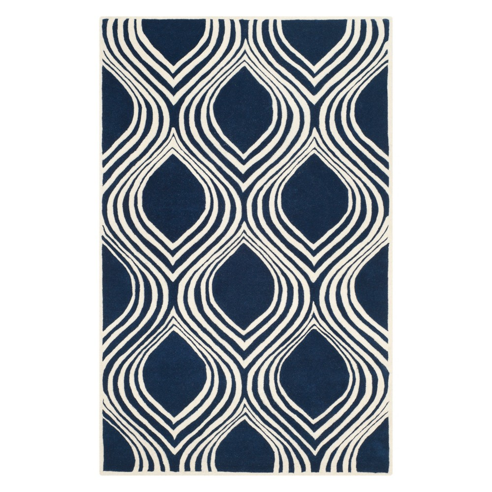 4 X6 Geometric Tufted Area Rug Dark Blue Ivory Safavieh