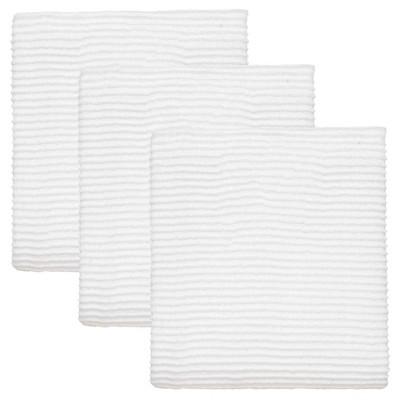White Turkish Cotton Ripple Kitchen Towels (Set Of 3)
