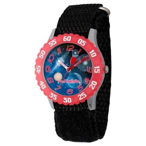 Boys' Red Balloon Stainless Steel Time Teacher Watch - Black - image 1 of 2