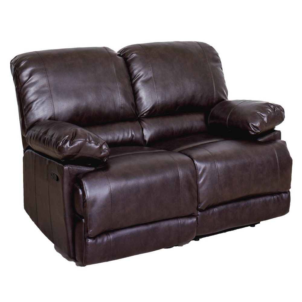Leather Reclining Loveseat Brown CorLiving