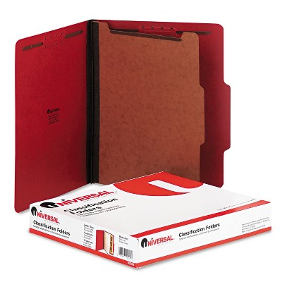 UNIVERSAL Pressboard Classification Folders Letter Four-Section Ruby Red 10/Box 10203