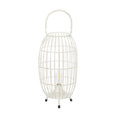 "16"" x 8.5"" Oval Modern Metal Caged Candle Holder with Led Light Bulb Center White - Olivia & May"