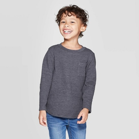 Toddler Boys' Ottoman Crew Long Sleeve T-Shirt - Cat & Jack™ Charcoal - image 1 of 3