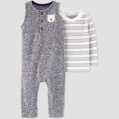Baby Boys' 2pc Bear Romper & Shirt Set - Just One You® made by carter's Gray/White 18M
