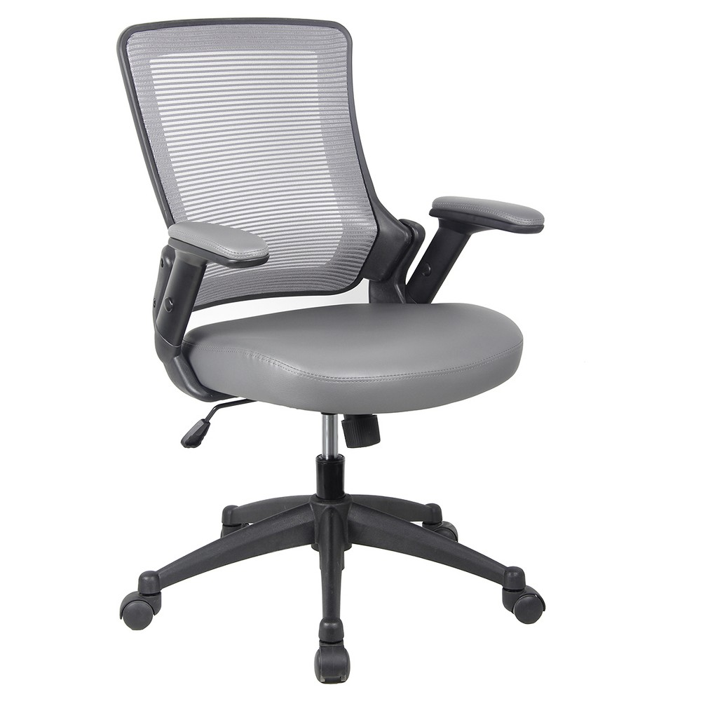 Mid - Back Mesh Task Office Chair with Height Adjustable Arms - Gray - Techni Mobili