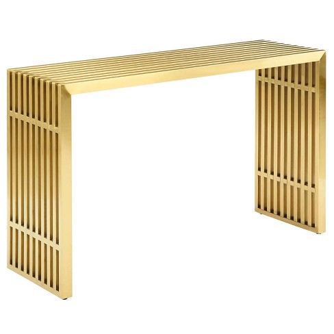 Gridiron Stainless Steel Console Table Gold - Modway - image 1 of 5