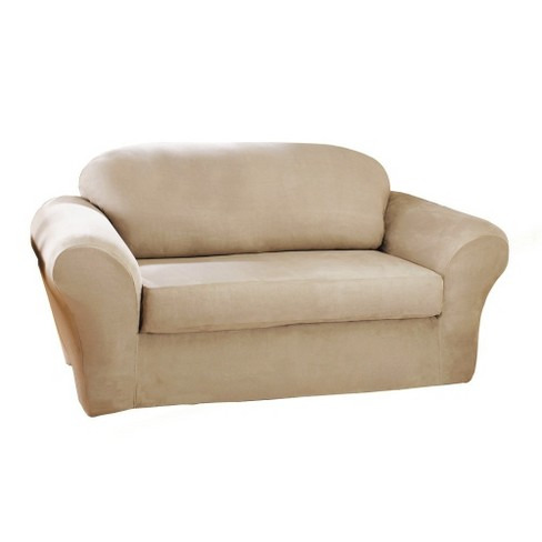 Stretch Suede 2pc Sofa Slipcover - Sure Fit - image 1 of 2