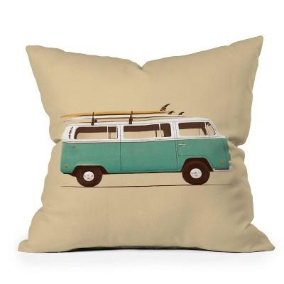 """18""""x18"""" Florent Bodart Famous Cars Van Square Throw Pillow Blue - Deny Designs"""