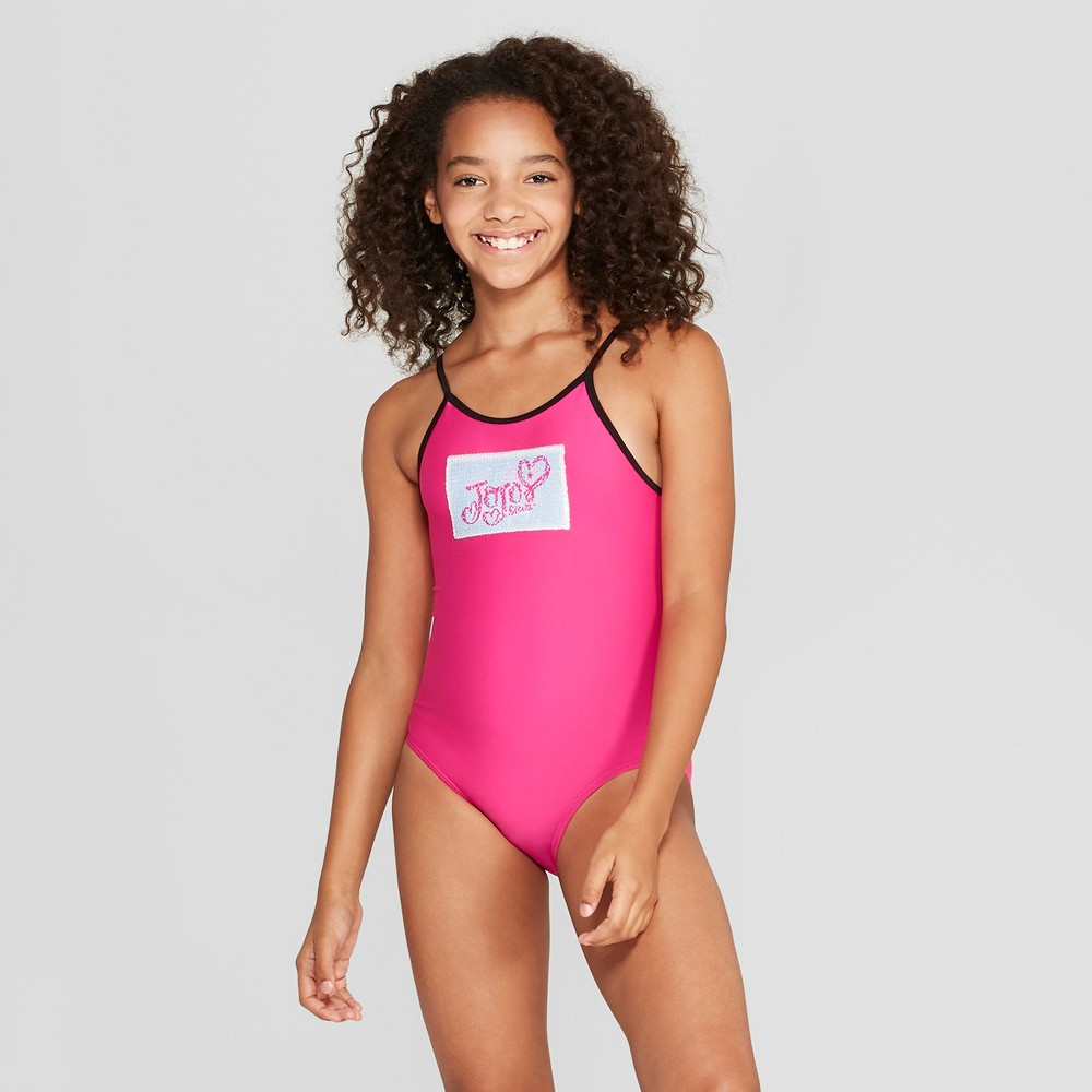 Girls' Flip Sequins JoJo Siwa One Piece Swimsuit - Pink XS