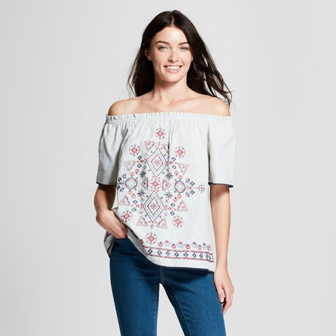 Women's Pinstripe Short Sleeve Embroidered Off the Shoulder Top - Knox Rose™ Blue XL - image 1 of 2