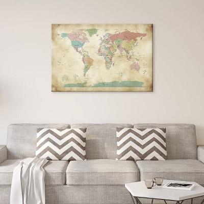 26 x40  World Cities Map by Michael Tompsett Unframed Wall Canvas Print Vintage Antique Khaki - iCanvas