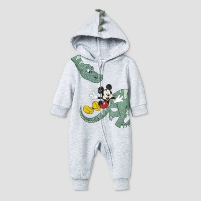 Baby Boys' Mickey Mouse Dino Long Sleeve Hooded Fleece Romper - Gray 0-3M