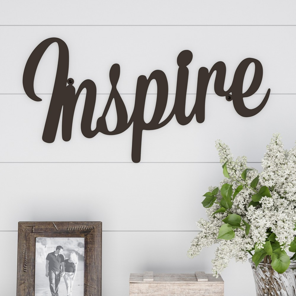 "Image of """"""Inspire"""" Decorative Wall Sign Natures Brown - Lavish Home"""