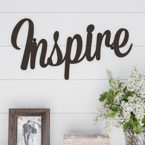 """""""Inspire"""" Decorative Wall Sign Natures Brown - Lavish Home - image 1 of 3"""