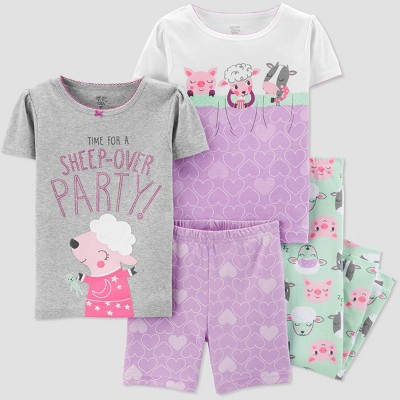 Baby Girls' 4pc Animal Sleepover Pajama Set - Just One You® made by carter's Gray/Purple/Green 12M