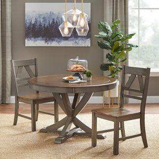3pc Vintner Country Style Dining Set Gray - Buylateral