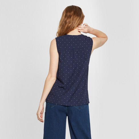 aed12b8860a3e1 Women's Polka Dot Sleeveless Button Front Blouse - A New Day™ Navy ...
