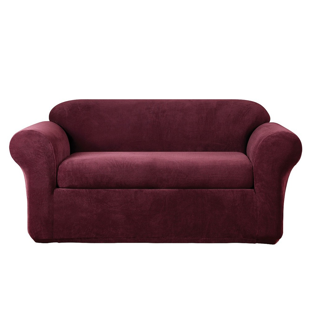 2pk Burgundy (Red) Stretch Metro Loveseat Slipcover - Sure Fit