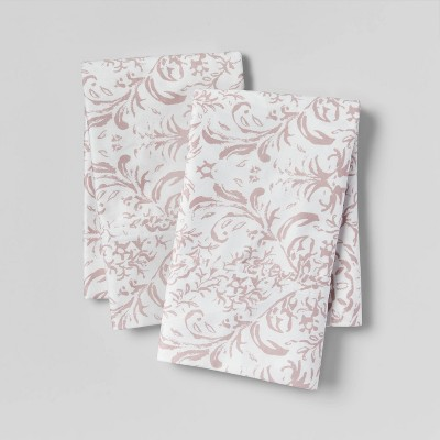 Standard 400 Thread Count Cotton Performance Pillowcase Set White/Mauve - Threshold™