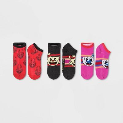 Women's 3pk Cuphead Low Cut Socks - Gray/Red/Pink 4-10