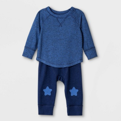 Baby Boys' Star Knees Cozy Top & Bottom Set - Cat & Jack™ Navy 6-9M