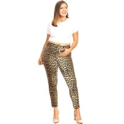Women's Plus Size Printed Cheetah Pants - White Mark