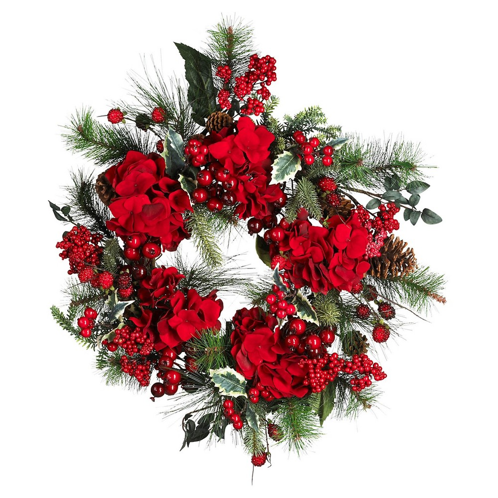 Image of 22 Hydrangea Holiday Wreath - Nearly Natural, Red