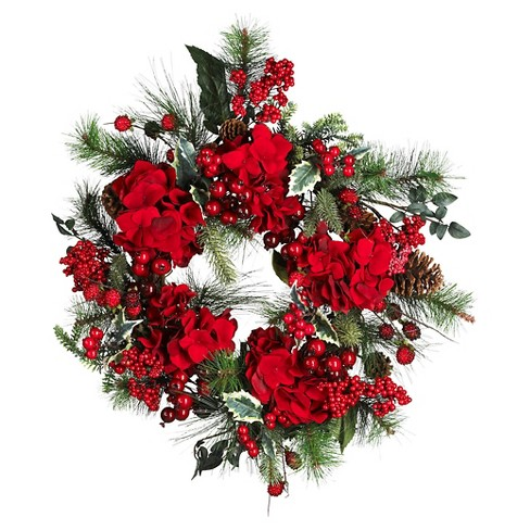 "22"" Hydrangea Holiday Wreath - Nearly Natural - image 1 of 1"