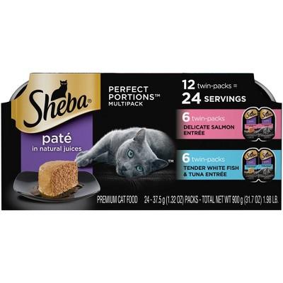 Sheba Perfect Portions Paté In Natural Juices Premium Wet Cat Food Salmon & White Fish Entrée - 2.6oz/12ct Variety Pack