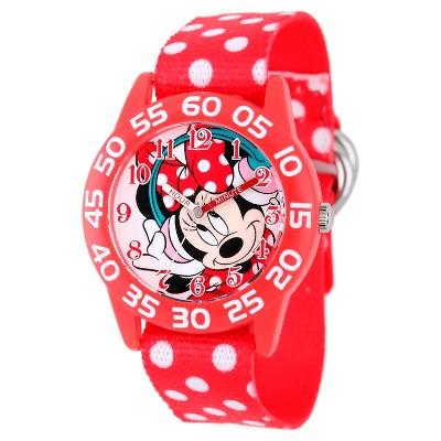 Girls' Disney Minnie Mouse Plastic Watch - Red