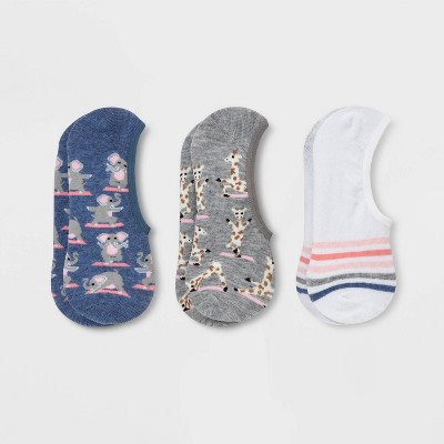 Women's Animal Yogis 3pk Liner Socks - Xhilaration™ Blue/White/Gray 4-10