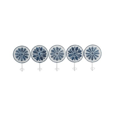 (Set of 5) 11 Traditional Iron Wall Hooks Blue/White - Olivia & May