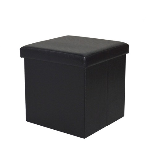 Folding Storage Ottoman Black - Home Source Industries - image 1 of 4