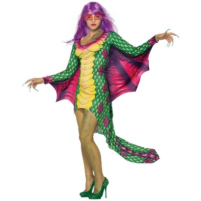 Forum Novelties Womens Dazzling Dragon Dress W/Mask Costume