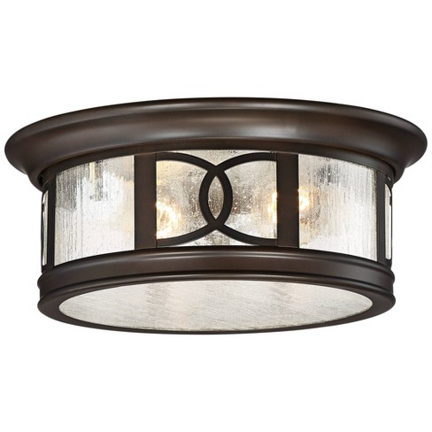 John Timberland Modern Outdoor Ceiling Light Fixture Mission Oil Rubbed Bronze Drum 12 Seedy Glass Damp Rated For Porch Patio Target
